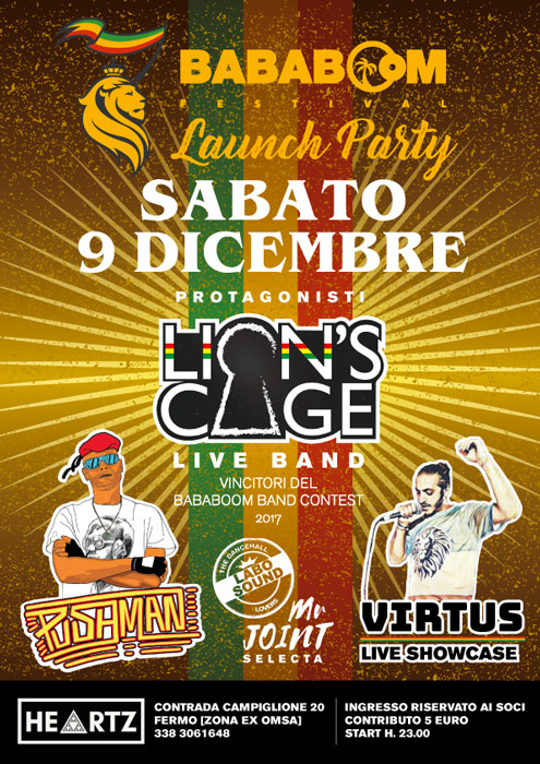Bababoom Launch Party – Lion's Cage live band – Mr Pushman Dancehall Virtus Showcase