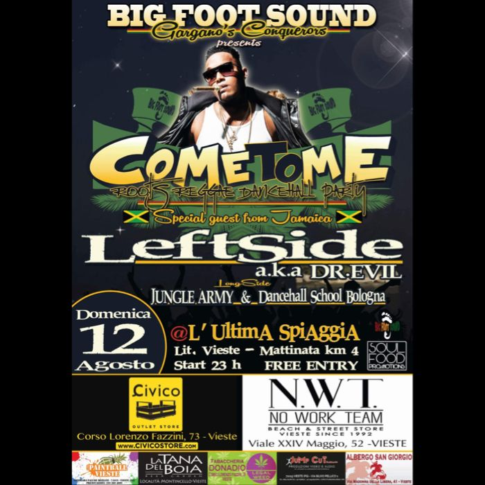 "Big Foot Sound presents: ""LEFTSIDE a.k.a. DR.DEVIL"" from JA – Long side JUNGLE ARMY SOUND (BO) @ VIESTE – ULTIMA SPIAGGIA BEACH"