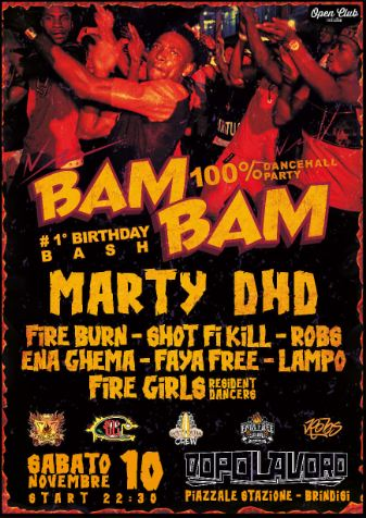 ★BAM BAM 100% Dancehall Party 1st B-Bash★ ls Marty DHD